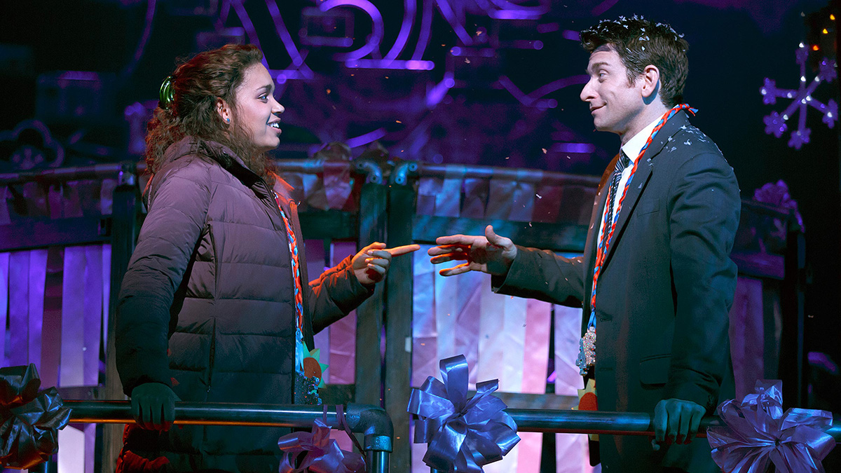 """Barrett Doss and Andy Karl in """"Groundhog Day"""" on Broadway. Photo credit: Joan Marcus"""