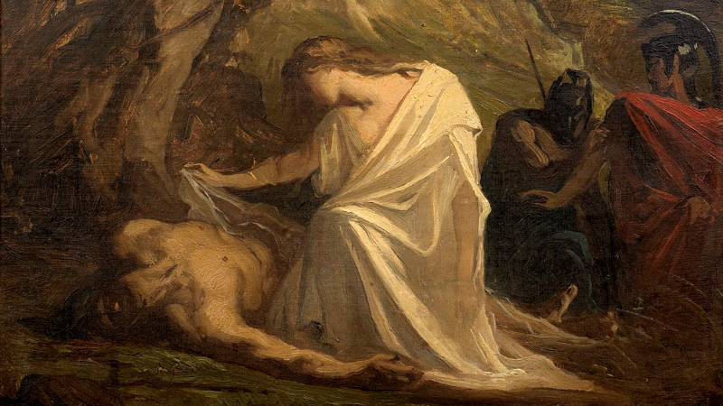 Painting of Antigone burying her brother Polyneices