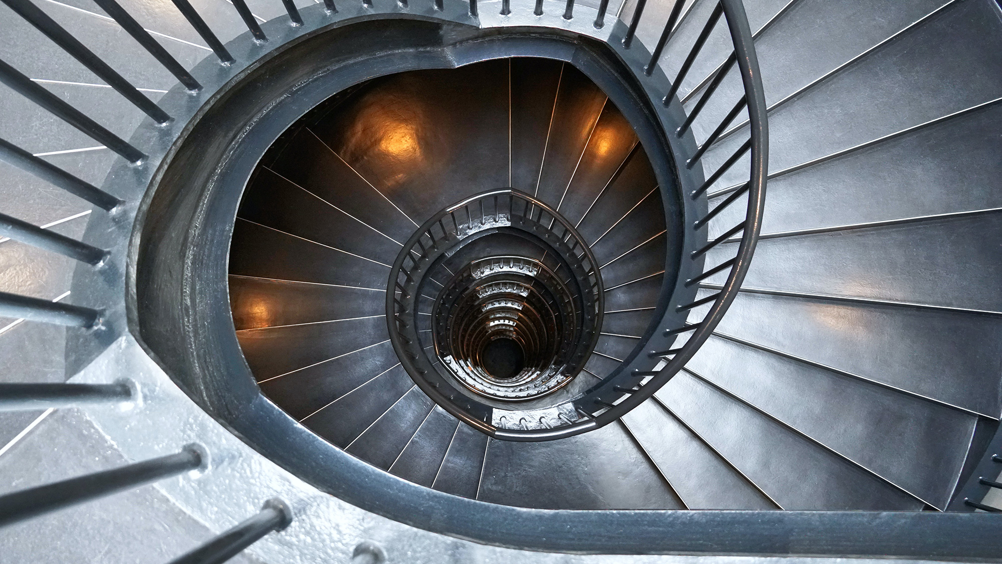 A staircase of the Zeitz Museum in Cape Town, South Africa