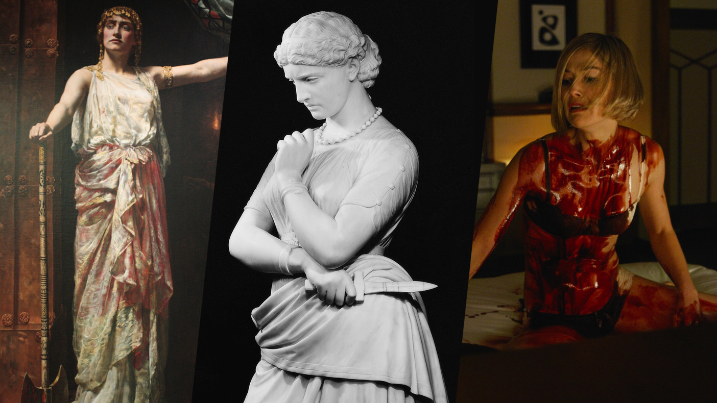 Clytemnestra, Medea, and Amy Dunne, as depicted by John Collier, William Wetmore Story, and Rosamund Pike (© 20th Century Fox), respectively